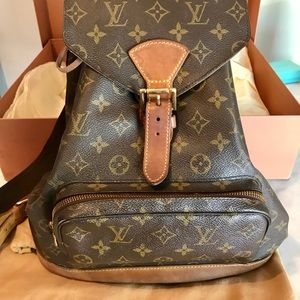 Louis Vuitton Montsouris Mm Brown Leather 🎒